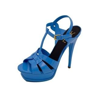 Saint Laurent Womens Classic Tribute Patent Leather Blue Sandal Pumps 39 / 9