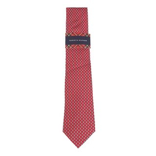 Tommy Hilfiger Men's 'Christmas Tree Micro Print' Silk Tie (Red, OS) - Red - os
