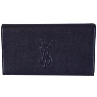 "Saint Laurent YSL 361120 Blue Leather Large Belle de Jour Clutch Handbag - Marine Blue - 11"" x 6"" x 2"""