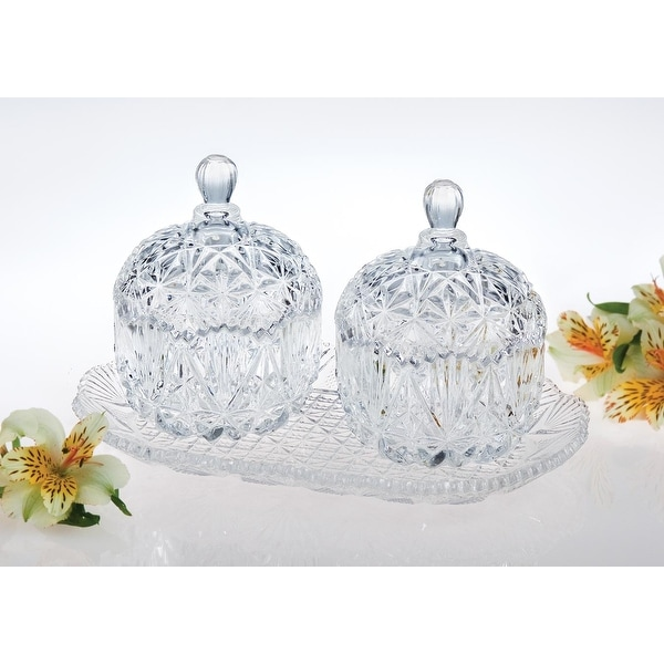 Studio Silversmiths Crystal Double Mini Canisters with Tray - 10.0 in. x 7.0 in. x 6.0 in.