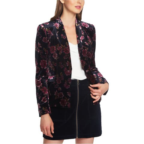 1.State Womens Gallant Garden Velvet One Button Blazer Jacket
