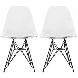 2xhome Modern Plastic Side Dining ChairColorsWith Dark Black Wire Chrome Legs Base (Set of 2)