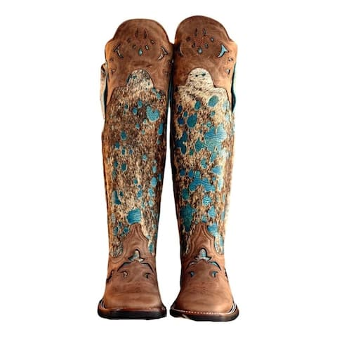 "Lacy Boots Womens Western Tall Shin Guard 15.5"" Calf Acid Turq"