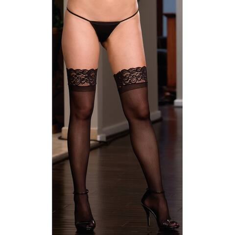 Plus Size Lace Top Sheer Thigh High - Black - XLarge