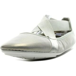 Easy Spirit e360 Yandra Women W Round Toe Leather Gray Ballet Flats