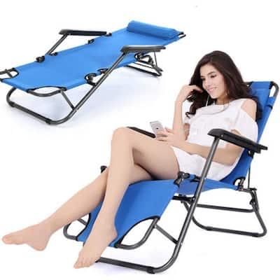 Outdoor Folding Recliner Beach Sun Patio Pool Chaise Lounge Chair