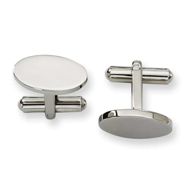 Chisel Polished Stainless Steel Cuff Links