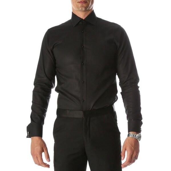 Ferrecci Mens Venice Slim Fit Pique Lay Down Collar Shirt