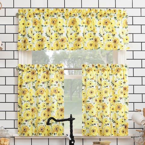 No. 918 Sunny Sunflower Print Semi-Sheer Rod Pocket Kitchen Curtain Valance and Tiers Set