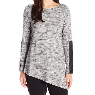 Karen Kane NEW Heather Gray Womens Size XL Marl Knit Fuax-Leather Blouse