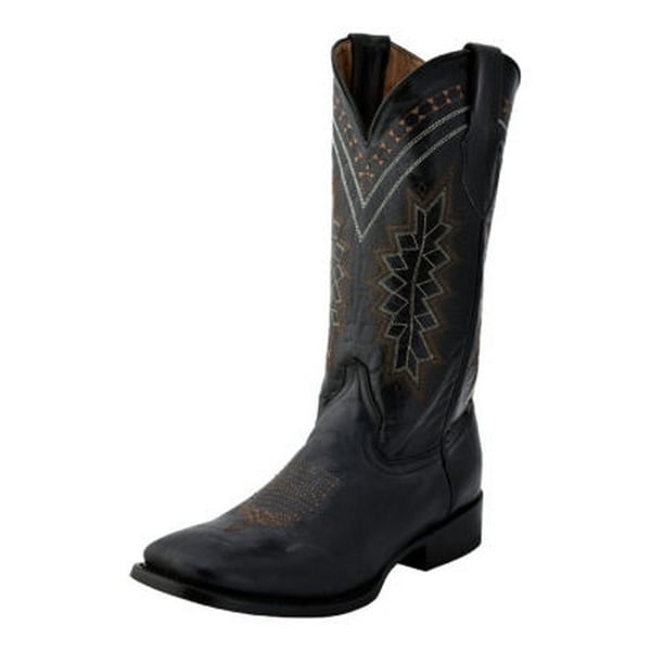 Ferrini Western Boots Mens Square Apache Stitching Leather Block