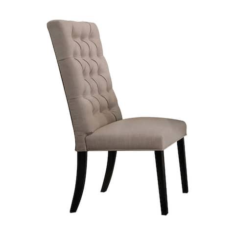 Acme Morland Tan Linen Side Chair in Vintage Black, Set of 2