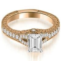 1.25 cttw. 14K Rose Gold Antique Emerald Cut Diamond Engagement Ring