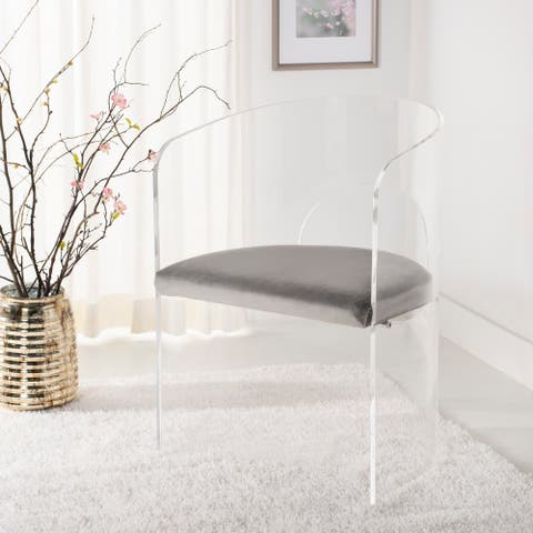 "Safavieh Couture Estelle Acrylic Accent Chair - Clear / Grey - 22""x19""x32"""