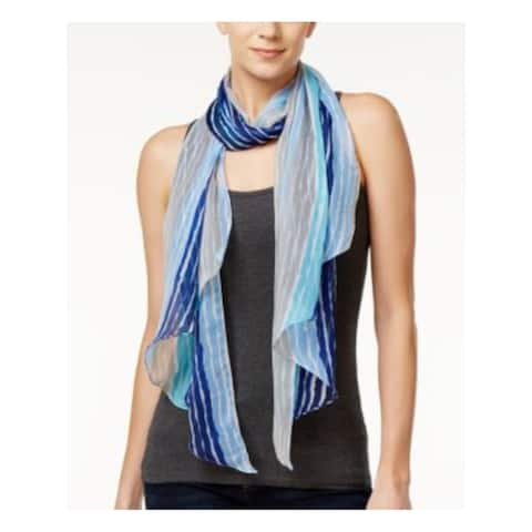 INC Womens Blue Polyester Striped Lightweight Scarf - ONE SIZE