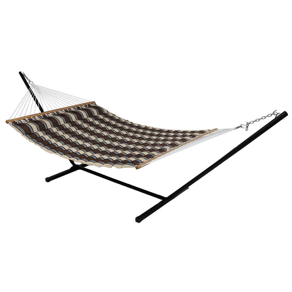 Sunnydaze Quilted Double Fabric 2-Person Hammock & Hammock Stand - Thumbnail 7