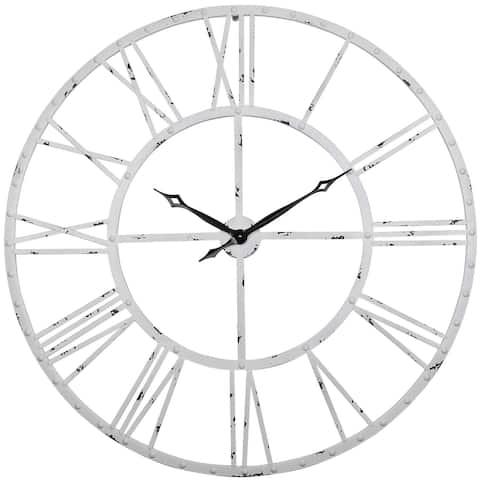 "Utopia Alley Rivet Roman Industrial Oversize Wall Clock, White, 45"""