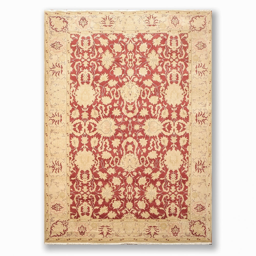 Overstockhand Knotted Oushak Maroon Beige Persian Oriental Area Rug Wool Traditional Oriental Area Rug 5x7 5 6 X 8 6 5 6 X 8 6 Maroon Dailymail