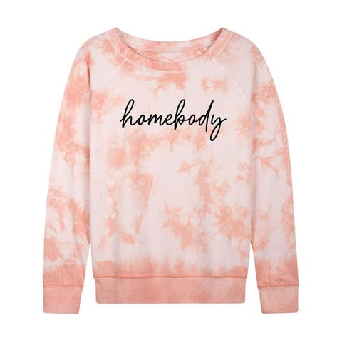 Homebody Script - Ladies Lightweight French Terry Pullover - Tie Dye Peach