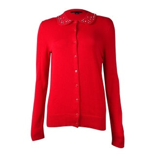 Tommy Hilfiger Women's Embellished Collared Cardigan (S, Racing Red) - S
