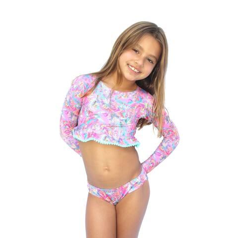Azul Little Girls Pink Paisley Print Crop Long Sleeve 2 Pc Rash Guard Set