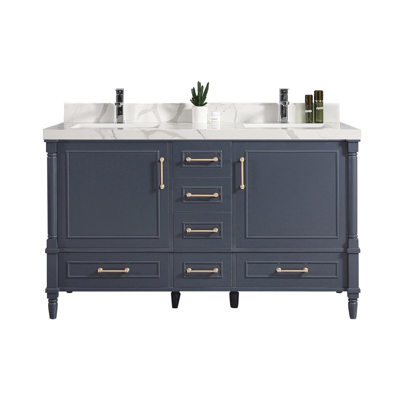60 X 22 Aberdeen Double Bowl Sink Bathroom Vanity With Countertop Overstock 32577718