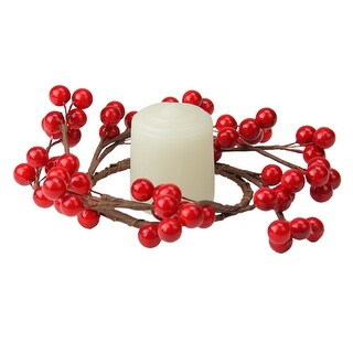 Shiny Red Berries Artificial Christmas Candle Holder Ring, 7-inch