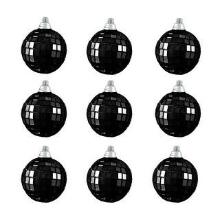 "9ct Jet Black Mirrored Glass Disco Ball Christmas Ornaments 2.5"" (60mm)"
