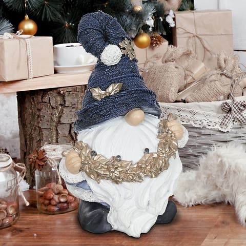 Exhart Hat-Wearing Christmas Gnome with LED Garland on a Battery Powered Automatic Timer, 8.5 Inch
