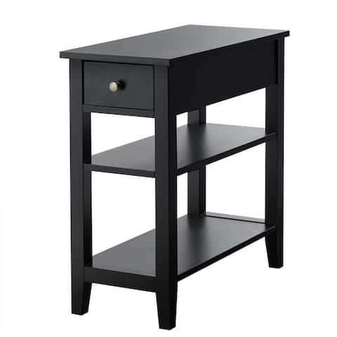 3-Tier Nightstand Bedside Table Sofa Side with Double Shelves Drawer-Black