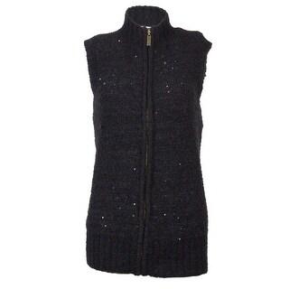 Charter Club Women's Sequined Zipper Front Cardigan Sweater Vest