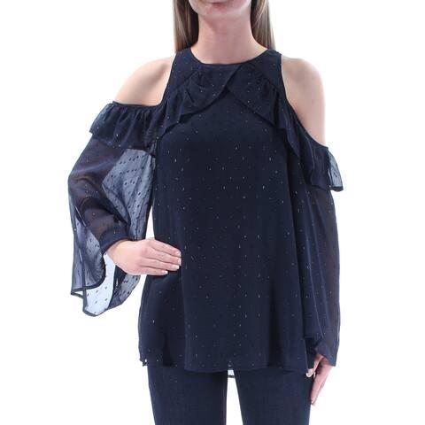 CATHERINE MALANDRINO Womens Navy Ruffled Embellished Bell Sleeve Jewel Neck Blouse Evening Top Size: XS