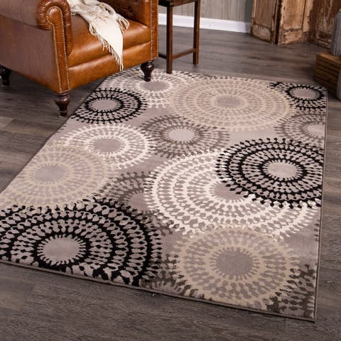 Orian Rugs Clifton Fleece Taupe Ornate Circles Brown