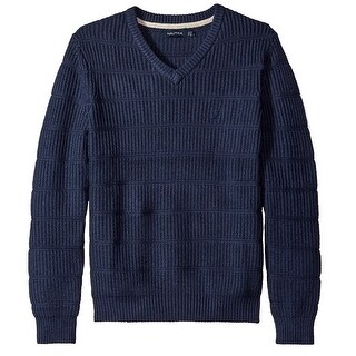 Nautica Blue Mens Size XL V-Neck Textured Ribbed Knit Sweater