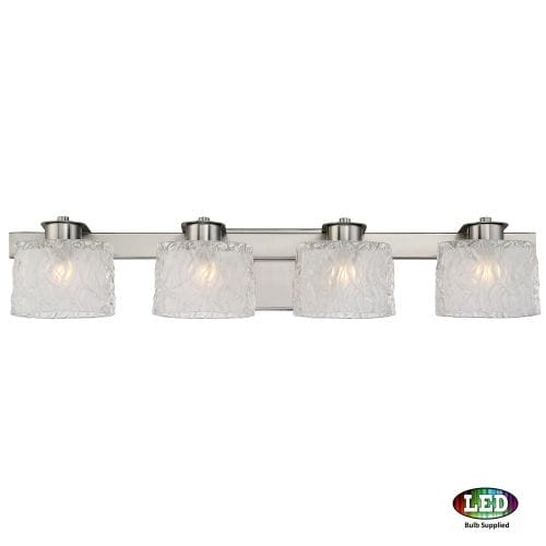 """Platinum PCSW8604LED Seaview 4 Light 30"""" Wide Bathroom Vanity Light with Glass Bell Shades"""