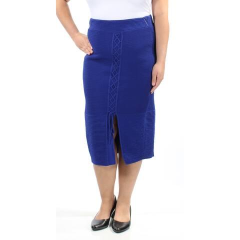 RACHEL ROY Womens Blue Slitted Tie Midi Pencil Skirt Size: XL