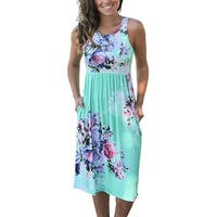 Womens Summer Casual Floral Print Midi Dresses
