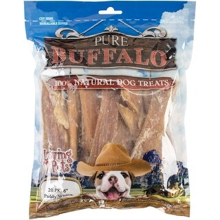 "Pure Buffalo 6"" Backstrap Tendon Dog Treat 20/Pkg-"