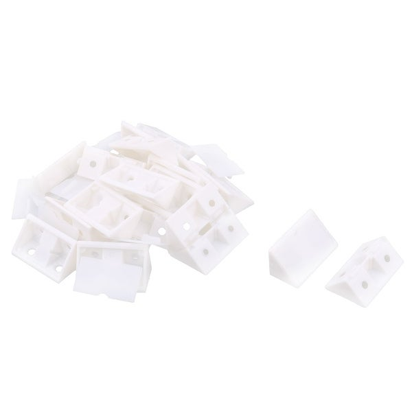 Plastic Shelf Cabinet Closet 90 Degree Corner Braces Angle Brackets White 20pcs