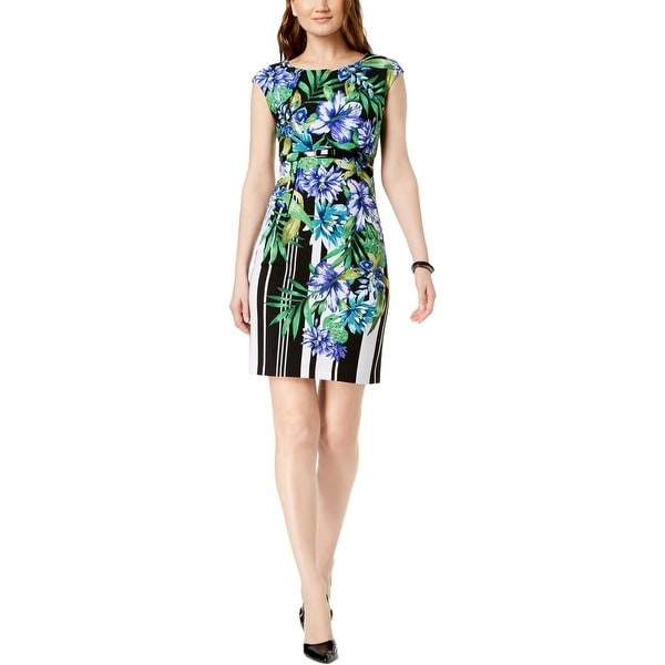 Connected Apparel Womens Petites Sheath Dress Floral Daytime
