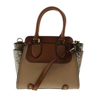 London Fog Womens Satchel Handbag Faux Leather Medium
