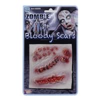 Zombie Multiple Prosthetic Bloody Scar Wounds Costume Accessory - Red