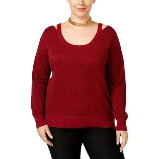 MICHAEL Michael Kors Womens Plus Pullover Sweater Metallic Long Sleeves