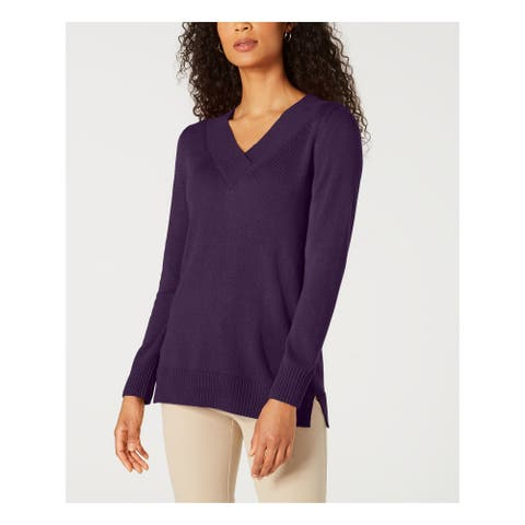 KAREN SCOTT Womens Purple Solid Long Sleeve V Neck Sweater Size M