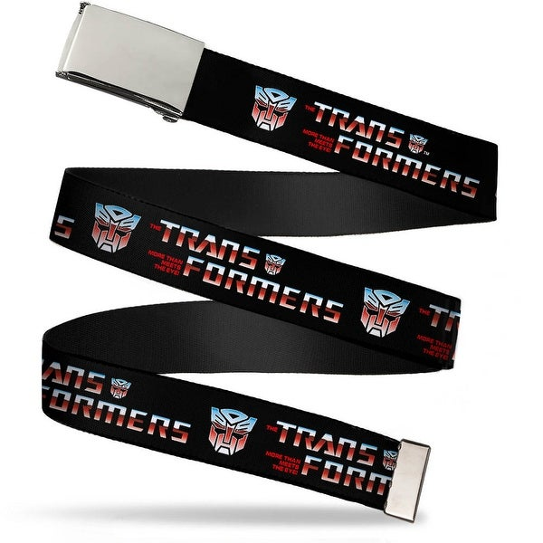 Blank Chrome Buckle Transformers Logo Autobot Black Blue Red Fade Web Belt - S