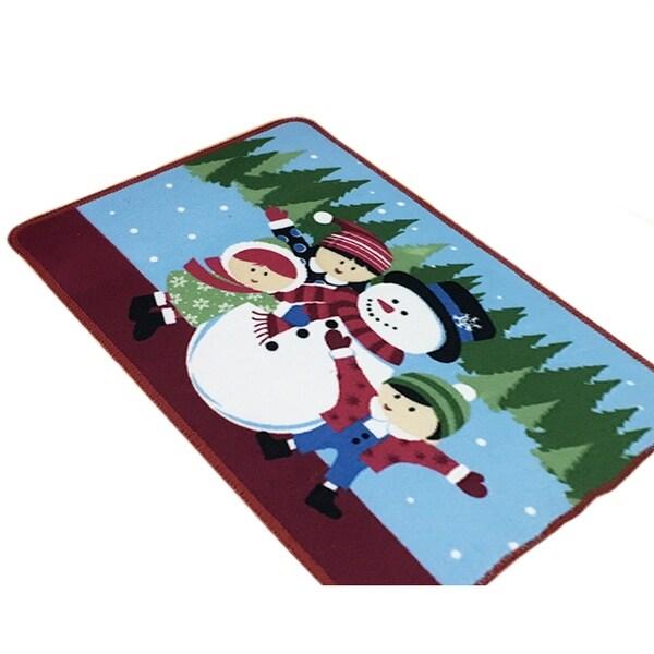 Christmas Series Ground Floor Foot Door Mat Carpet - Light blue