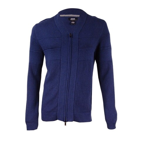 Alfani Men's Full-Zip Shawl Collar Cardigan Sweater (New Navy Heather, M) - new navy heather - M