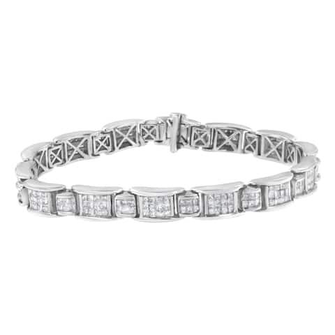 14K White Gold 5 Carat TDW Channel-Set Diamond Link Bracelet (G-H ,SI1-SI2)