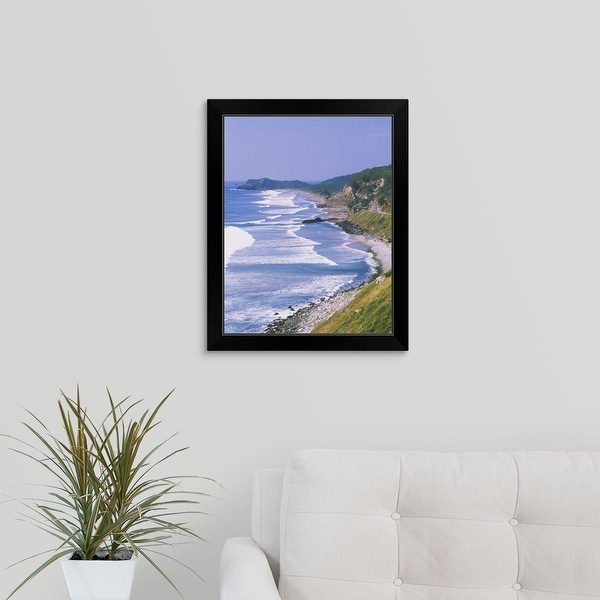 """Highway along the coast, Mexico"" Black Framed Print"