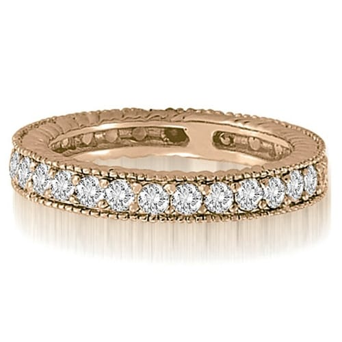 0.70 cttw. 14K Rose Gold Antique Round Cut Diamond Wedding Band
